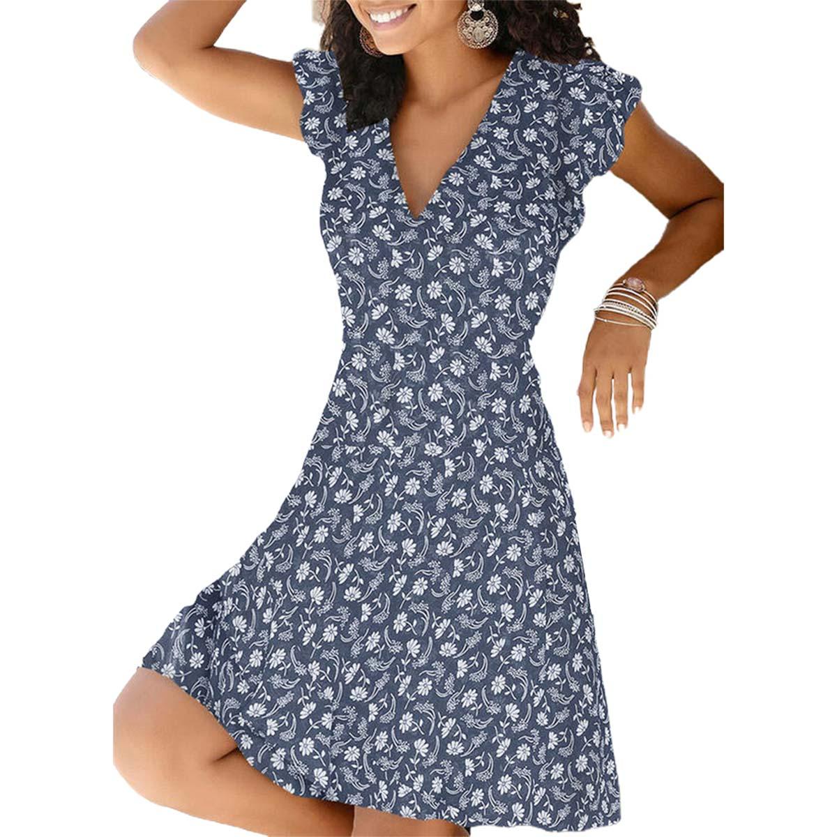 Dawdyfu Women Summer Floral V-Neck Beach Dress