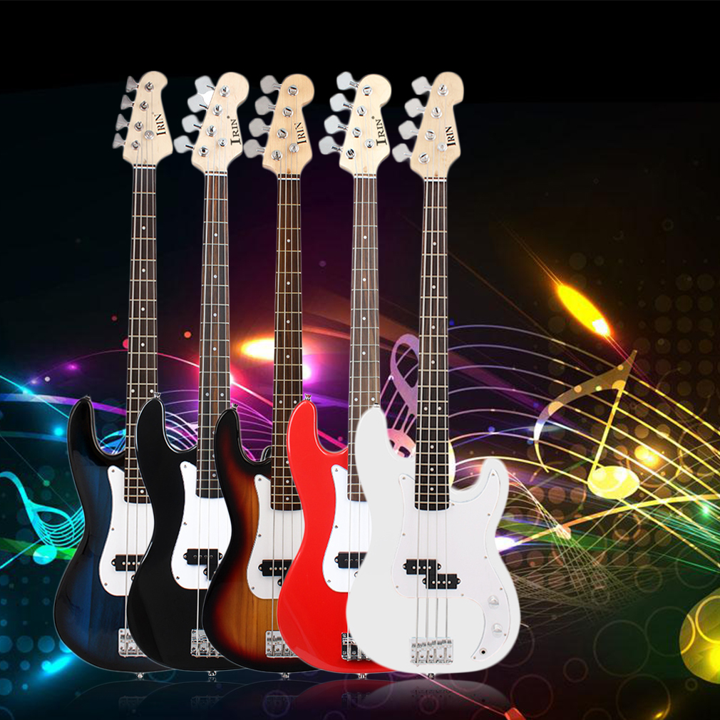 Professional 5 Color Optional Universal Electric Bass Guitar Maple Wood Body And Neck With Portable Carried Bag, White