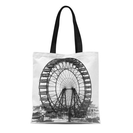 Worlds Fair Ferris Wheel - SIDONKU Canvas Tote Bag Retro Vintage Ferris Wheel at Chicago World Fair Reusable Handbag Shoulder Grocery Shopping Bags
