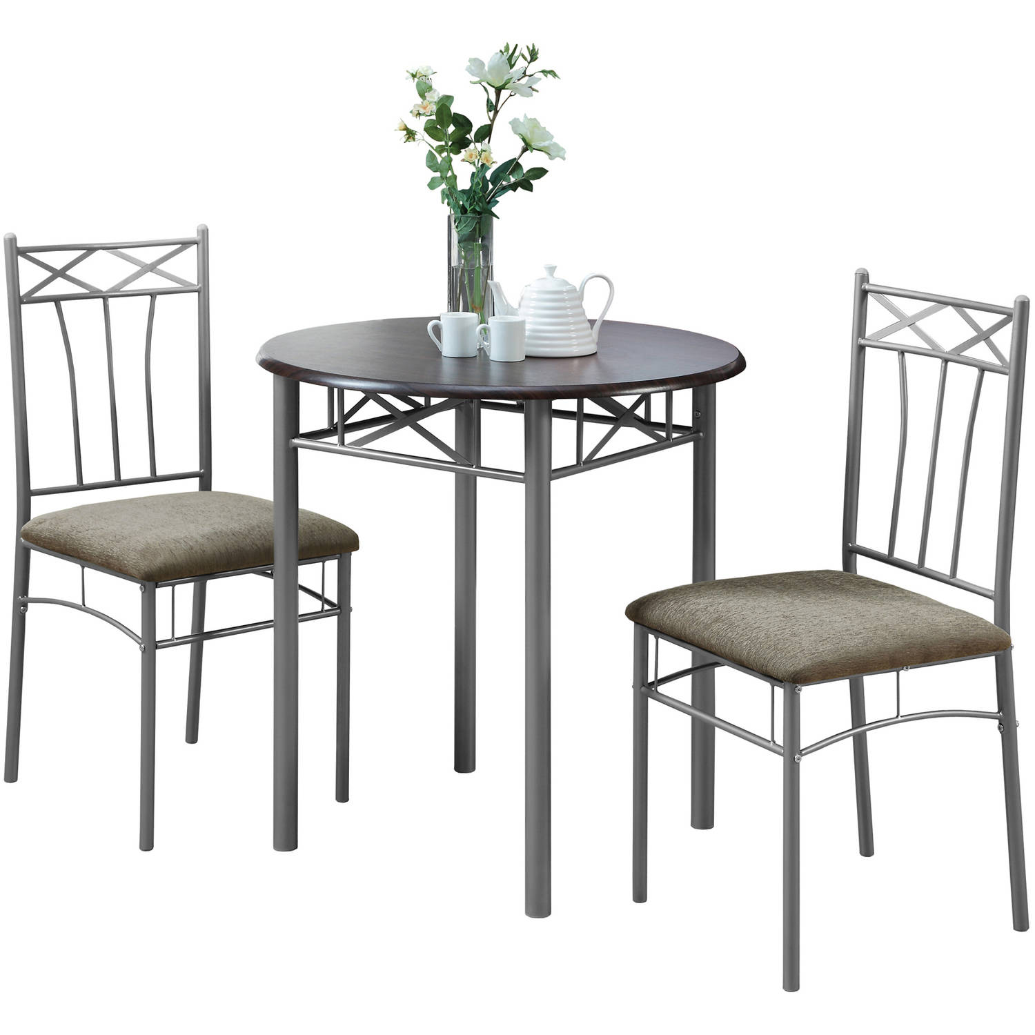 Etonnant Monarch Dining Set 3Pcs Set / Cappuccino / Silver Metal
