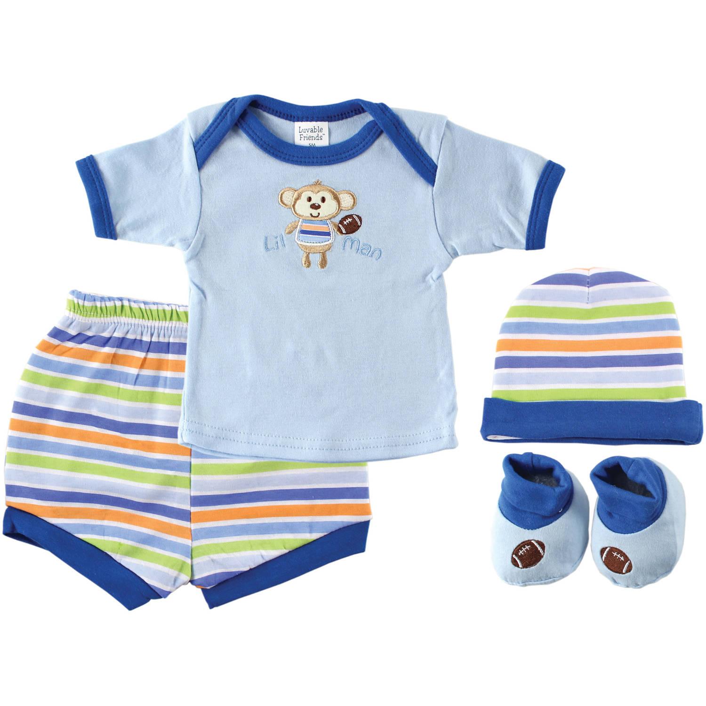 Luvable Friends Newborn Baby Boy Layette Playtime Box 4-Piece Set, Blue