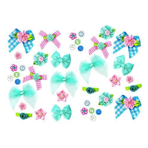 Bundle Monster DIY Craft Assorted Colors Ribbon Bow Rose Flower Button- Set 7