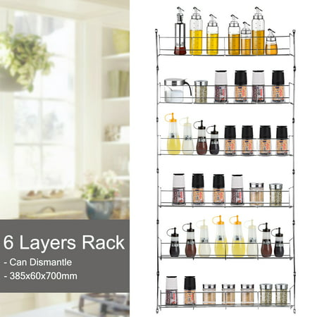3/4/5/6 Tier Kitchen Wall Mounted Storage Rack Hanging Organizer Home Spice Can Shelving Holder