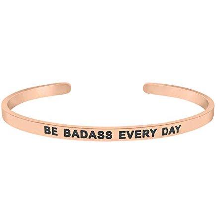 'Be Badass Every Day'' Motivational Mantra Quote Cuff Bangle Inspirational Bracelet (Rose - Motivational Bracelets