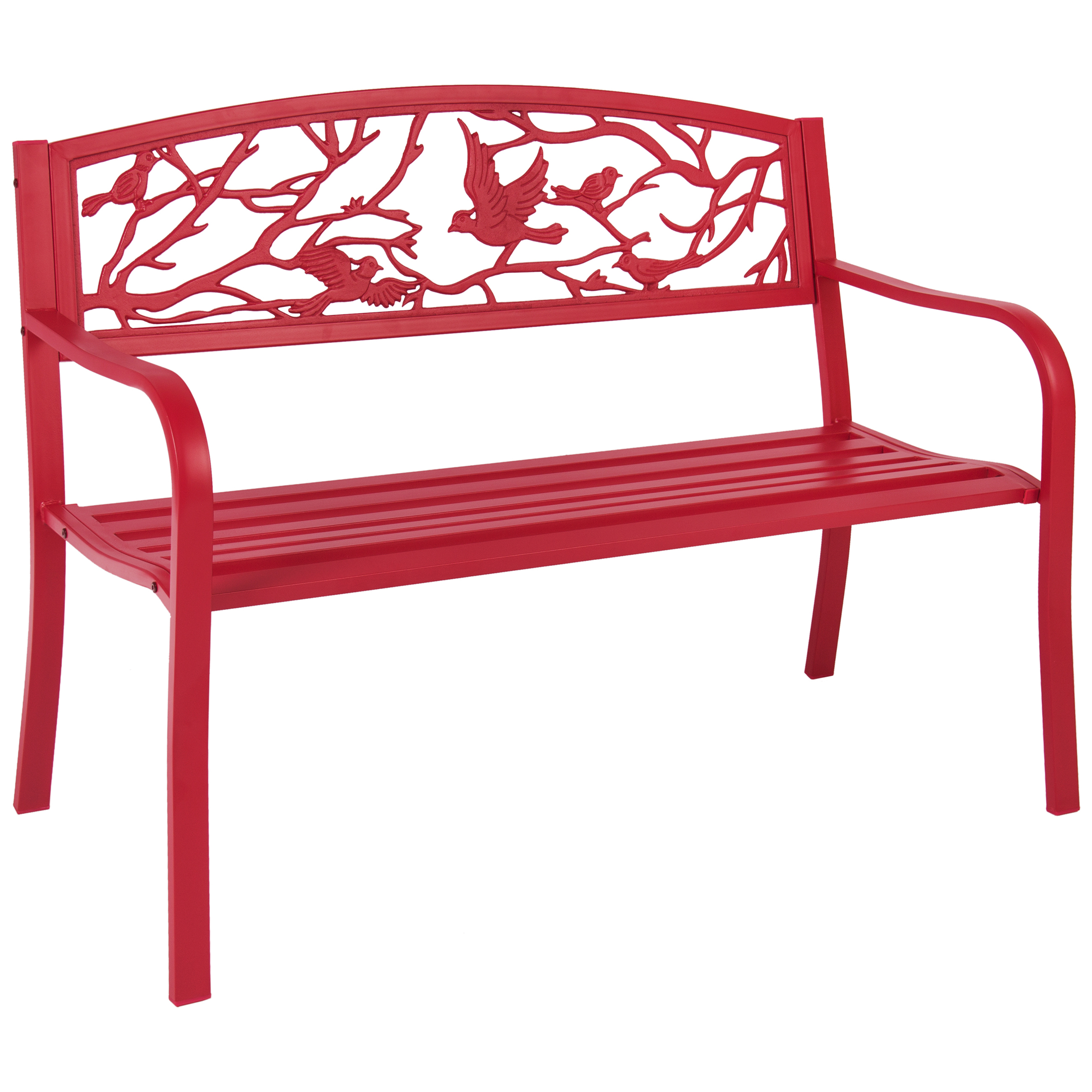 Best Choice Products Rose Red Steel Patio Garden Park Bench Outdoor Living Patio Furniture