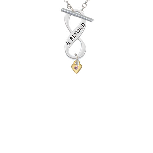 Mini Light Pink Birthday Crystal Gold Tone Heart & Beyond Infinity Toggle Chain Necklace