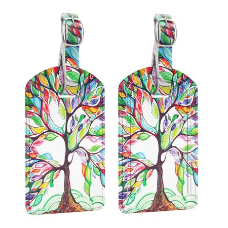 [2 Pack] Fintie Luggage Tags, PU Leather Name ID Label Holder with Privacy Cover Travel Bag Cruise Suitcase Identifier