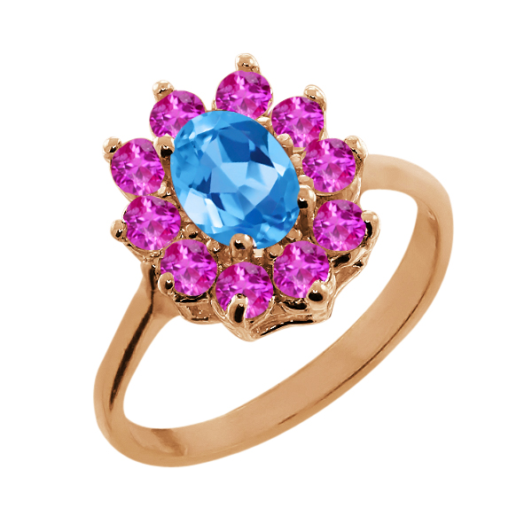 1.30 Ct Oval Swiss Blue Topaz Pink Sapphire Rose Gold Plated Silver Ring by