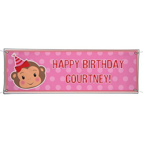 Personalized Oversized Birthday Banner, Party Monkey Girl