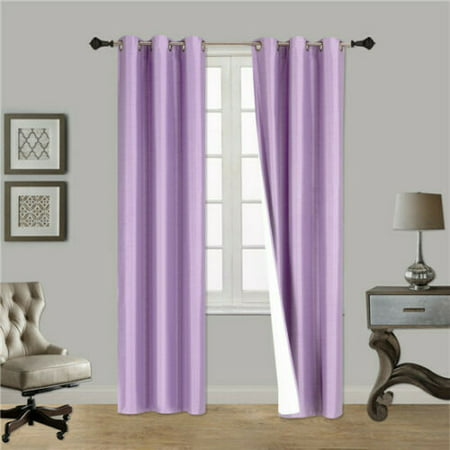 """(#86) Hotel Quality Grommet Top, Jacquard 1 Panel Lilac Lavender Solid Thermal Foam Lined Blackout Heavy Thick Window Curtain Drapes Bronze Grommets 84"""" Length"""