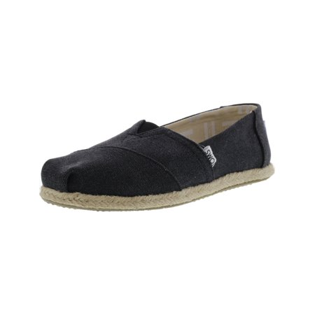 Toms Women's Classic Washed Canvas Rope Sole Black Slip-On Shoes - 8M](Toms Shoes On Clearance)