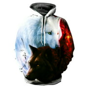Lookwoild Women Men Animal Wolf 3D Print Hoodie Pockets Pullover Jumper Coat