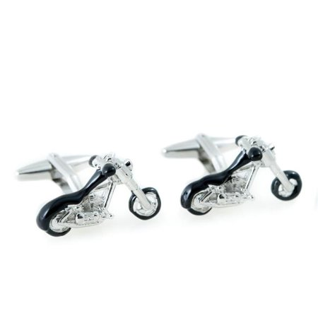 Bey-Berk International J251 Rhodium Plated & Black Enamel Motorcycle Design Cufflinks, Silver Enamel Rhodium Silver Cufflinks