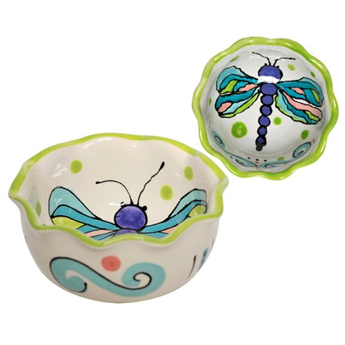 Thompson and Elm Dana Wittmann Wings Dragonfly Handpainted Ceramic Round Ruffle Bowl