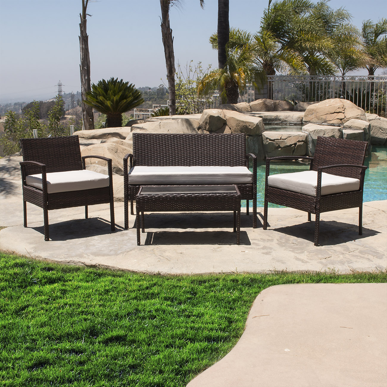Belleze 4 PCS Outdoor Garden Patio Rattan Furniture Sets Cushioned Seat Wicker, Brown