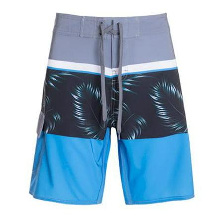 Hawks Bay Men's Swim Beach Board Shorts With Pockets Grey Blue (Bay Swimsuit)