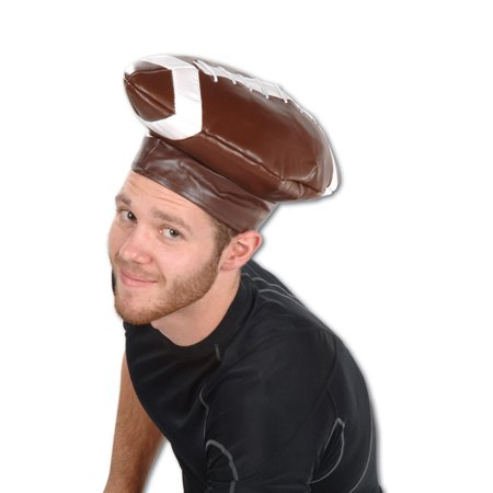 Pack of 6 Sports Themed Brown and White Vinyl Football Costume Party Hats