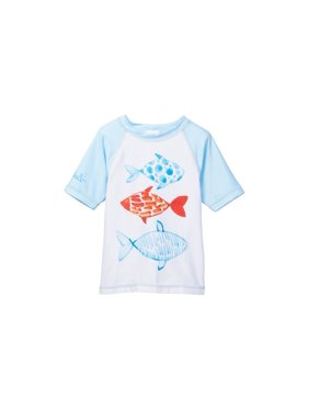 Azul Unisex Little Kids White Multi Color Fish Short Sleeve Rash Guard