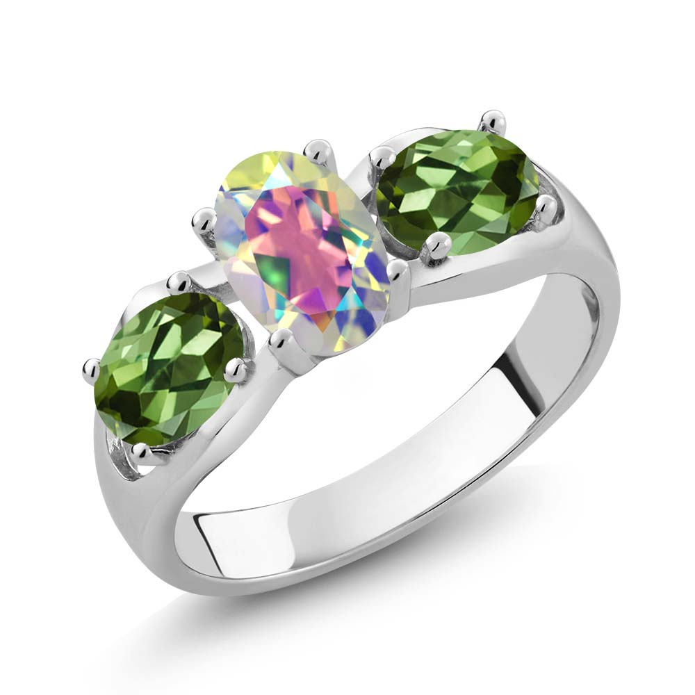 1.80 Ct Oval Mercury Mist Mystic Topaz Green Tourmaline 18K White Gold Ring by