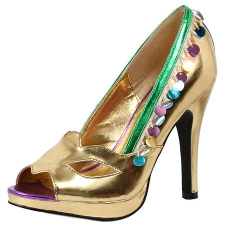 Womens Gold Peep Toe Pumps Green Trim Masquerade Costume Shoes 4 Inch Heels](Masquerade Clothes)