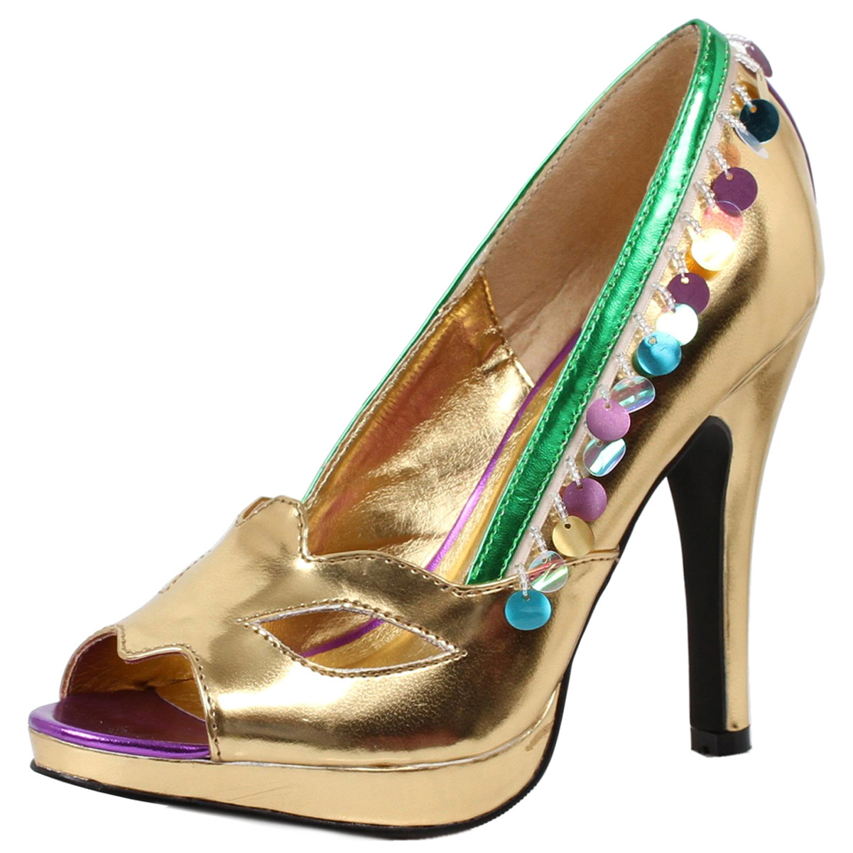 Womens Gold Peep Toe Pumps Green Trim Masquerade Costume Shoes 4 Inch Heels
