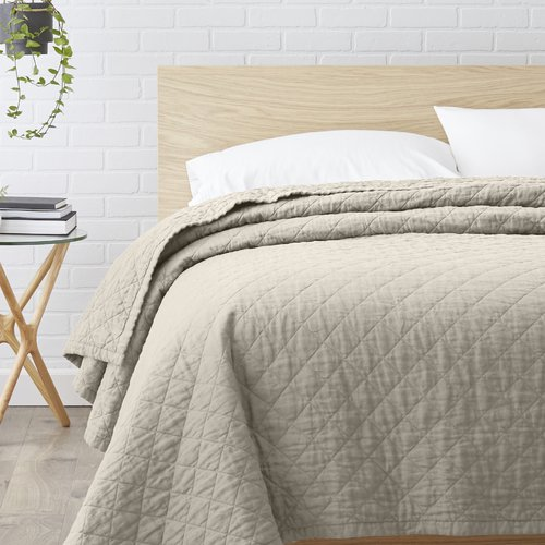 Echelon Home Quilted Washed Belgian Linen Coverlet by Overstock