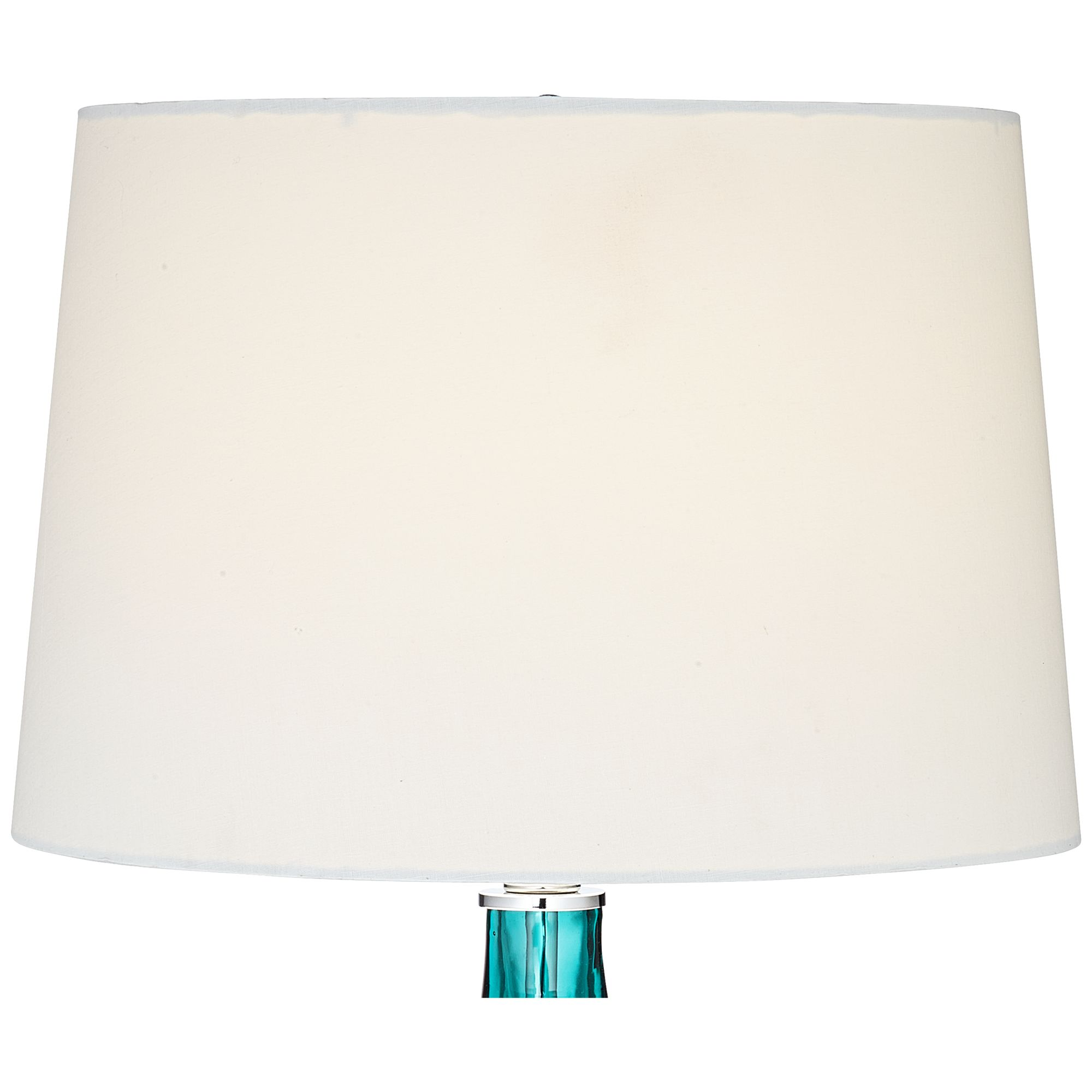 Picture of: Possini Euro Design Modern Table Lamp Turquoise Glass Wave Pattern Tapered White Drum Shade For Living Room Family Bedroom Bedside Walmart Com Walmart Com