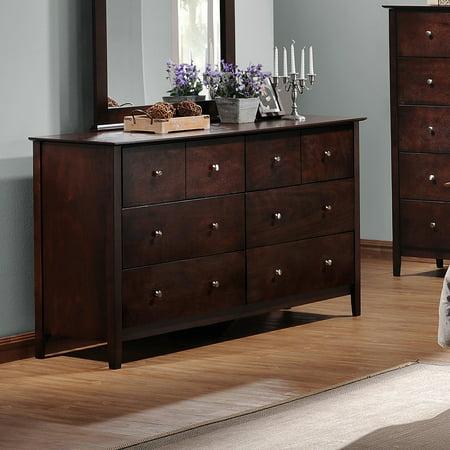 Metropolitan 6 Drawer Wooden Modern Dresser Dark Brown