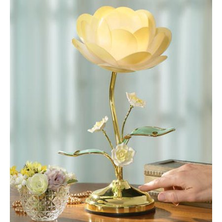 Lotus Flower Table Desk Touch Lamp Light 3 Setting Glass Metal Plastic NEW