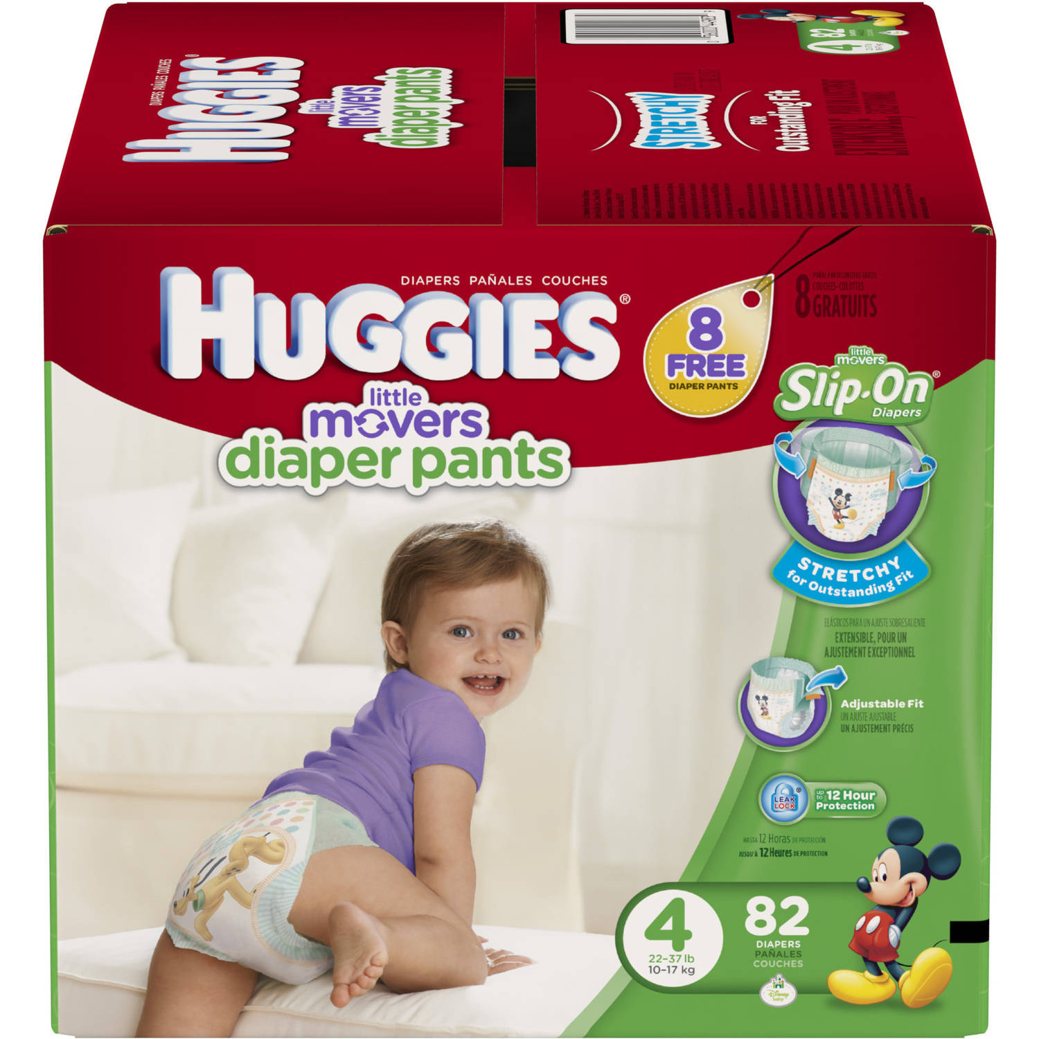 HUGGIES Little Movers Slip-On Diaper Pants, Size 4, 82 Diapers