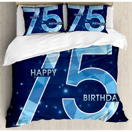 Ambesonne 75th Birthday Decorations Geometric Abstract Design With Stars Duvet Cover Set