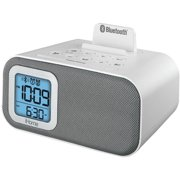 iHome IBT22WS Bluetooth Bedside Dual Alarm Clock with USB Charging and Line-In, White