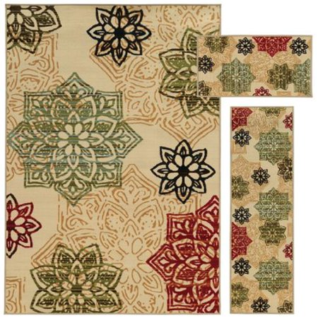 Style Haven Floral Medallion Beige  Green 3 Piece Set