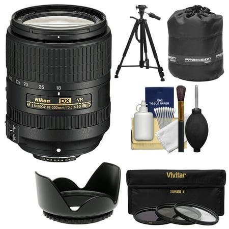 Nikon 18-300mm f/3.5-6.3G VR DX ED AF-S Nikkor-Zoom Lens with 3 Filters + Hood + Tripod Kit for D3200, D3300, D5300, D5500, D7100, D7200