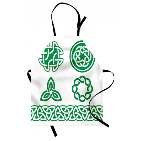 Irish Apron Medieval Ancient Knots Symbols Braided Design Religious Old Folkloric Gaelic, Unisex Kitchen Bib Apron with Adjustable Neck for Cooking Baking Gardening, Fern Green White, by Ambesonne - Medieval Braids