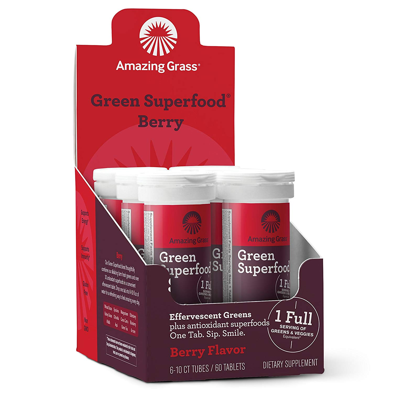 Amazing Grass Energy Green Superfood Effervescent Tablets, Berry, 60 Ct