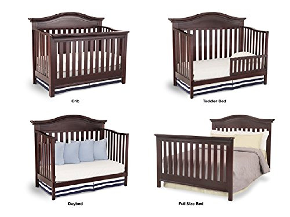 Simmons Kids Augusta 6-Piece Molasses Brown Nursery Furniture Set: Convertible Crib | Day Bed Toddler... by Delta Children