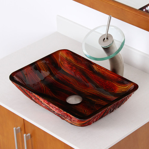 Elite Hot Melted Contrasting Hand Painted Glass Rectangular Vessel Bathroom Sink