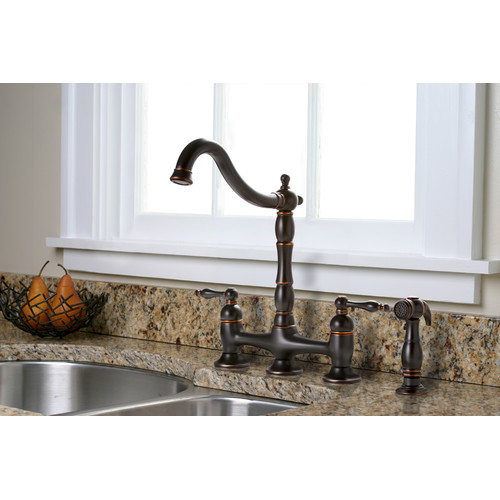 Premier Faucet Charlestown Two Handle Bridge Style Kitchen Faucet With  Matching Side Spray