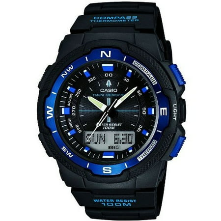 SGW500H-2BV Black Resin Analog Digital Twin Sensor Multi-Function Watch