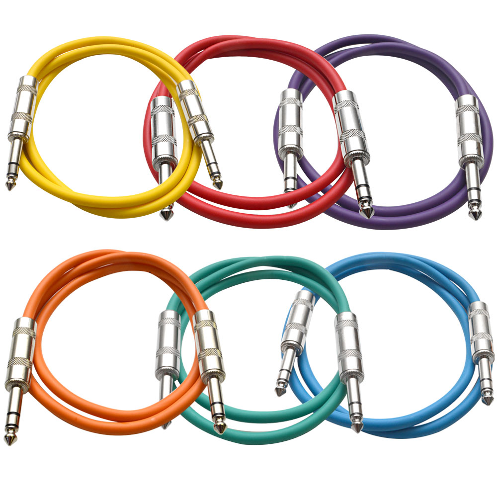 """Seismic Audio  6 PACK Colored 1/4"""" TRS 3' Patch Cables Multi-Colors - SATRX-3BGORYP"""