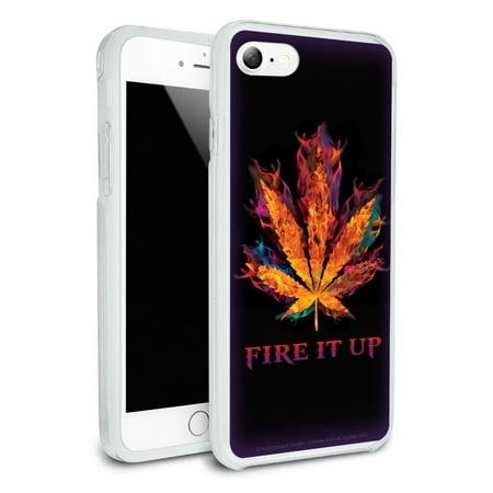 Fire it Up Marijuana Pot Leaf Flames Protective Slim Fit Hybrid Rubber Bumper Case Fits Apple iPhone 8, 8 Plus, X (Marijuana Leaf Case)