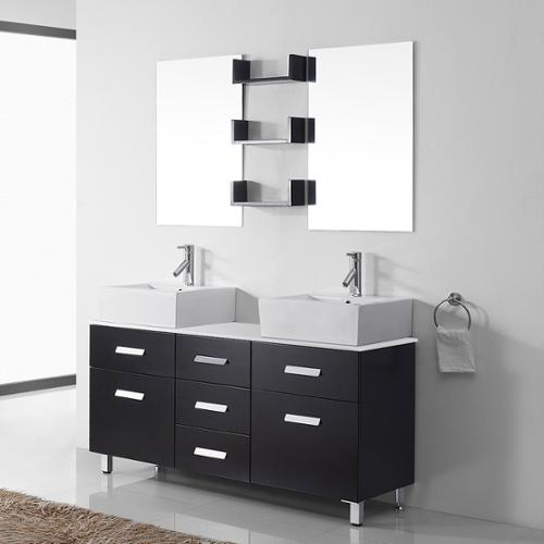 Superb VIRTU USA Maybell 56 Inch Double Bathroom Vanity Cabinet Set In Espresso