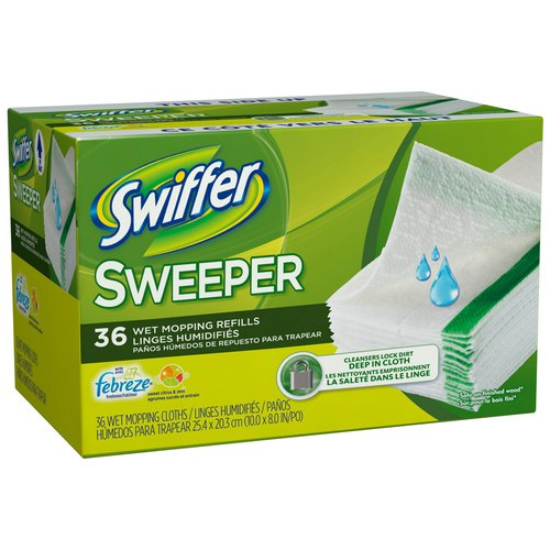 Swiffer Sweeper Wet Mopping Cloths Refills with Febreze Sweet Citrus & Zest Scent, 36 count