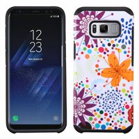 Samsung Galaxy S8 Phone Case Slim Tuff Hybrid Astronoot Rubber Silicone Shockproof Dual Layer Hard TPU Rugged Case Thin Cover - Colorful Flower Bud