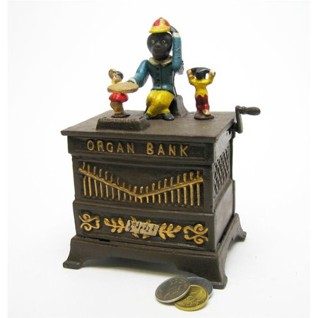Monkey Organ Grinder Collectors Cast Iron Mechanical Coin Banks