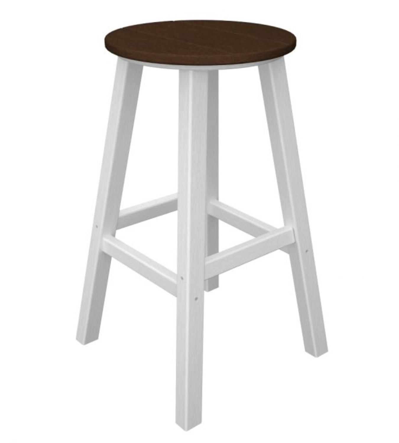 Pack of 2 Recycled Au Courant Outdoor Bar Height Stools -White & Chocolate Brown
