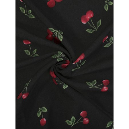Unique Bargains Women's 1950s Sleeveless Cherry Print Midi Flare Vintage Dress Black (Size M / 10) - image 1 of 6