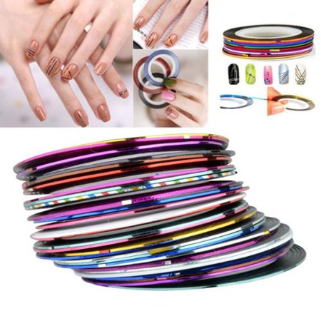 Zodaca Tape Line Nail Art Stickers Decorations 30 Sheet Manicure DIY - Mixed Color [2.6x2]