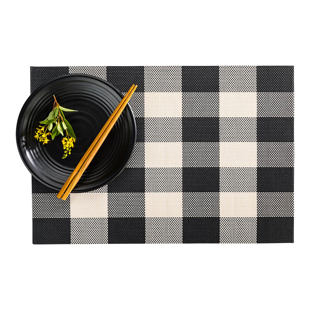 """Carmel Mesh Black and White Vinyl Woven Placemat - Large Gingham - 16"""" x 12"""" - 6 count box"""